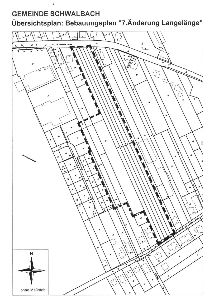 """Bekanntmachung über den Satzungsbeschluss des Bebauungsplanes """"7. Änderung Langelänge"""" im Gemeindebezirk Schwalbach, Griesborn"""